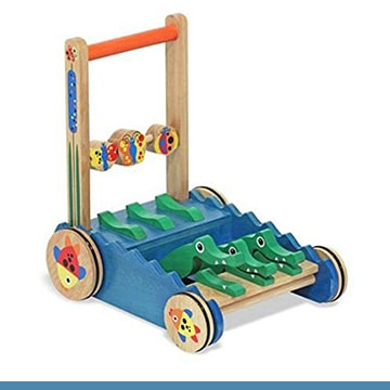 Melissa & Doug Alligator Wooden Push Toy and Activity Walker