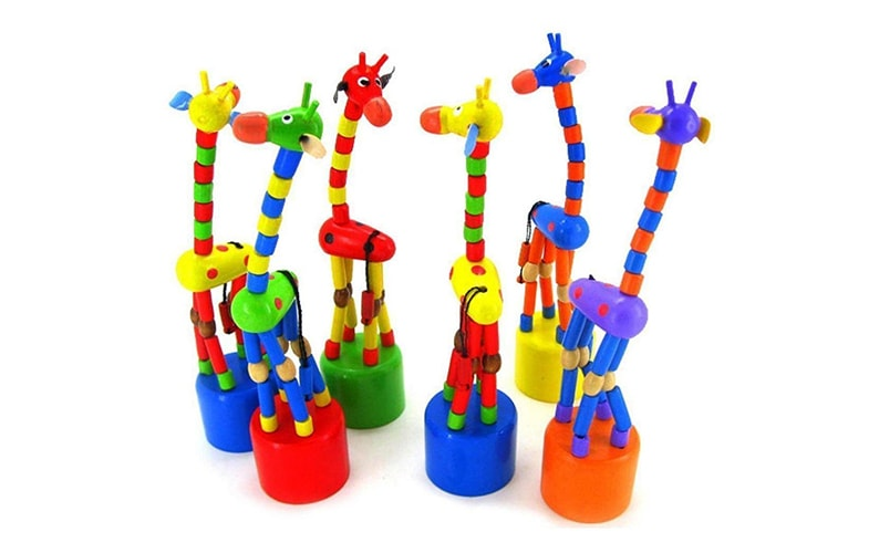 Dancing Stand Colorful Rocking Giraffe Wooden Toy For Kids