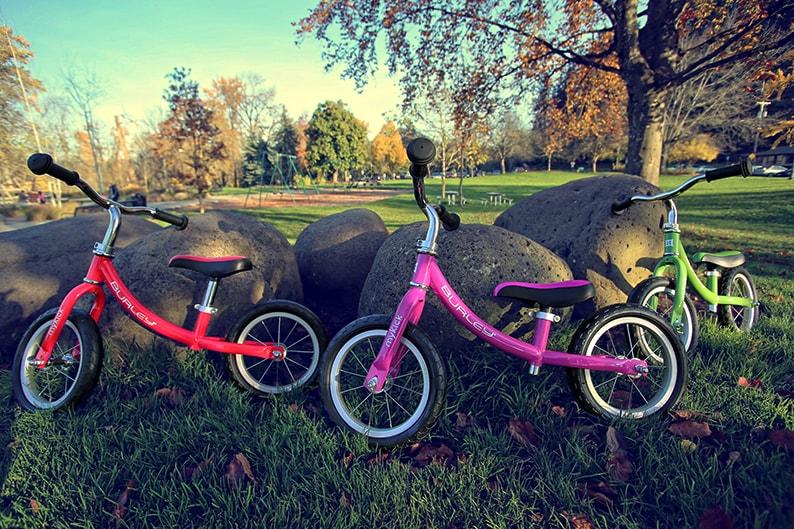 Burley MyKick Balance Bikes red green pink