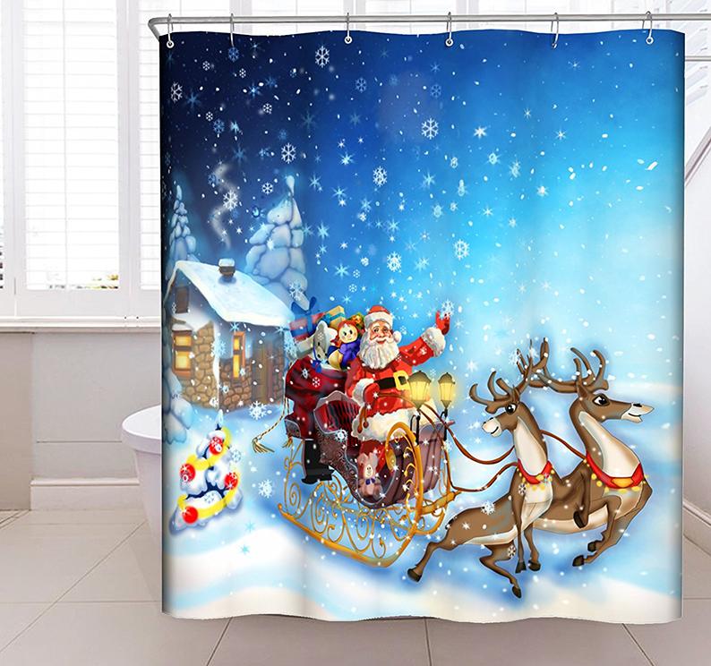 Christmas Bathroom Decoration Polyester Fabric Shower Curtains