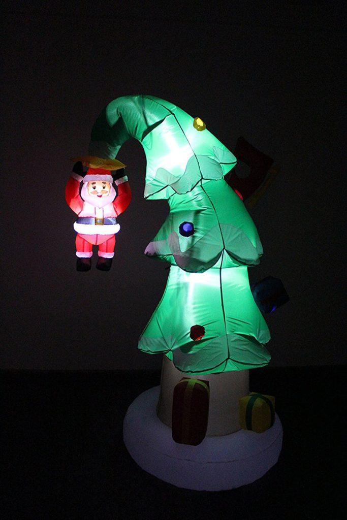 Christmas Inflatable Santa Crashed Into Christmas Tree