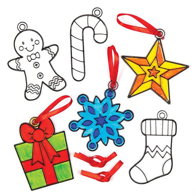 Christmas Shapes Suncatcher Hanging Decoration Set for Children