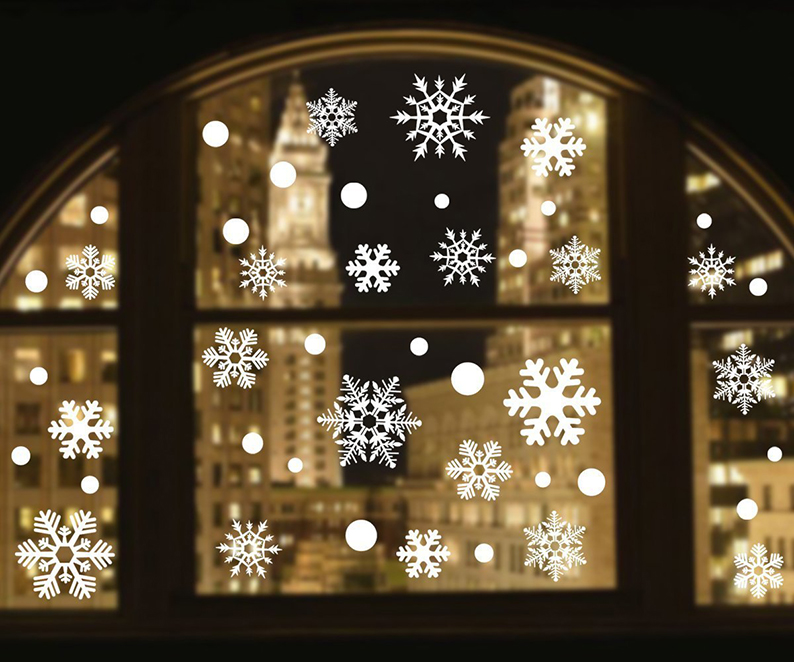 Christmas Snowflake Window Clings Decorations