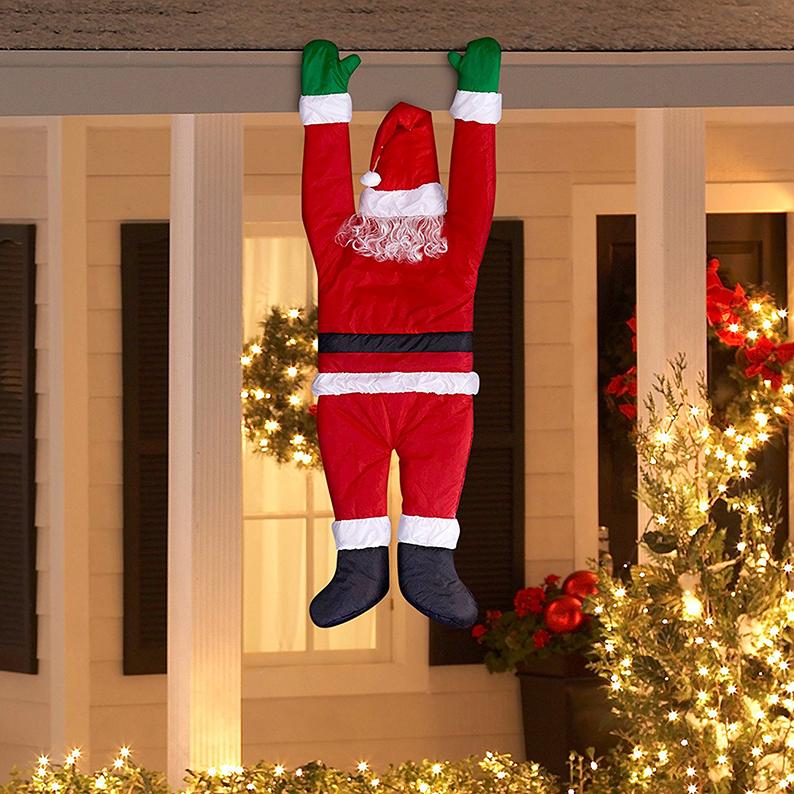 Décor Santa Hanging From Gutter