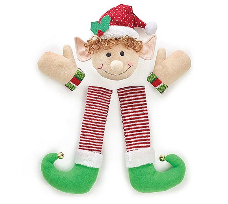 Festive Christmas Holiday Plush Elf Wreath