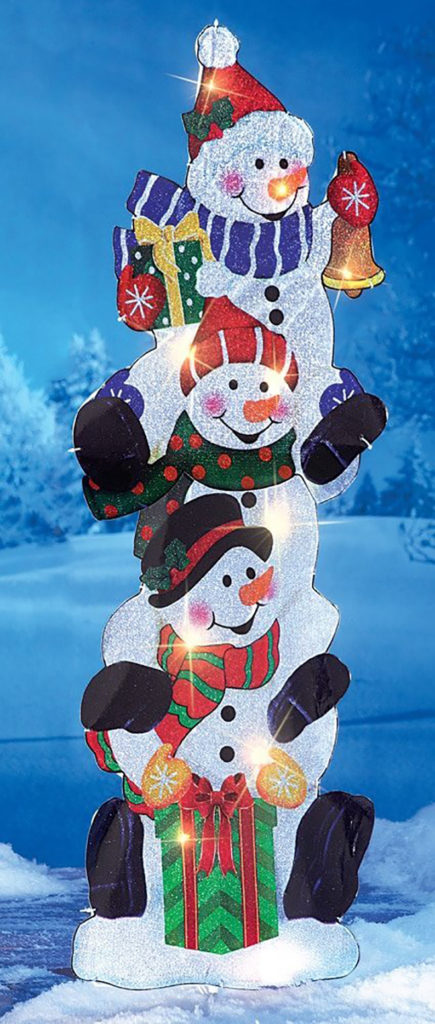 Lighted Stack of Snowmen