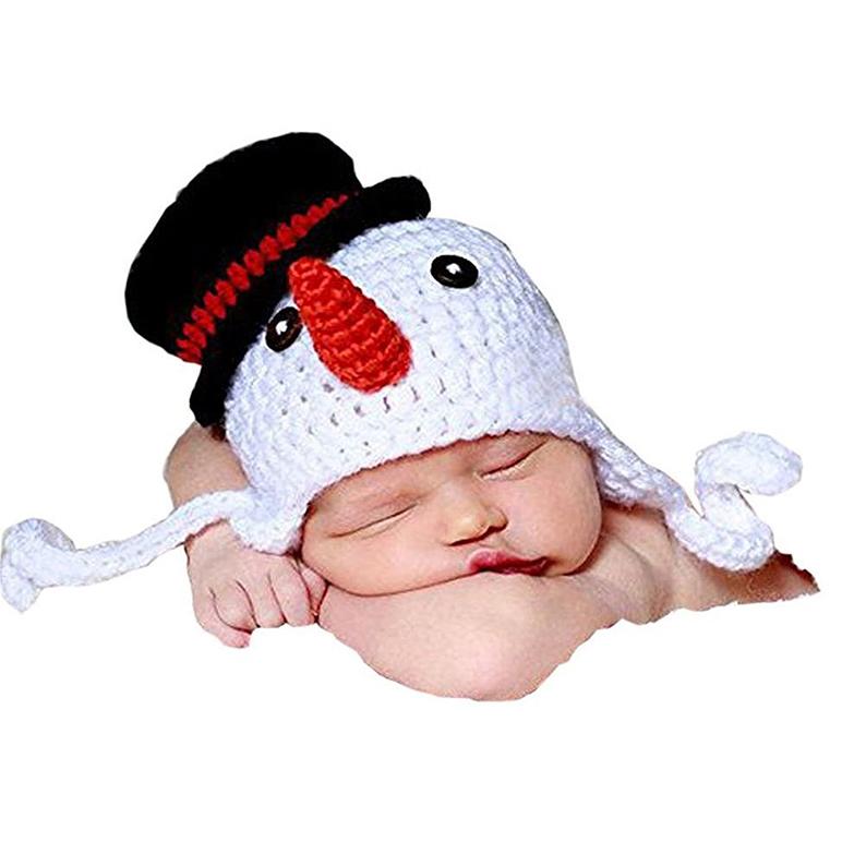 Newborn Baby Photography Photo Prop Crochet Knitted Crochet Costume Snowman Hat