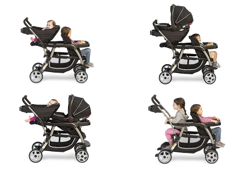 Ready2grow Click Connect Double Stroller different positions