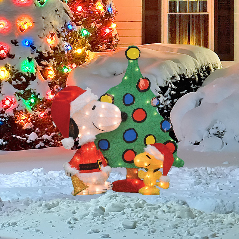 Snoopy and Woodstock Christmas Yard Decoration Set
