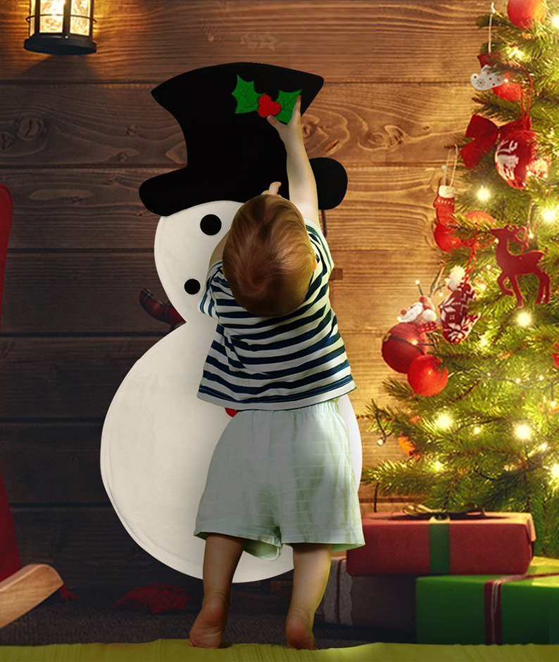 Snowman Kit for Kids Wall hanging with stick on decorations