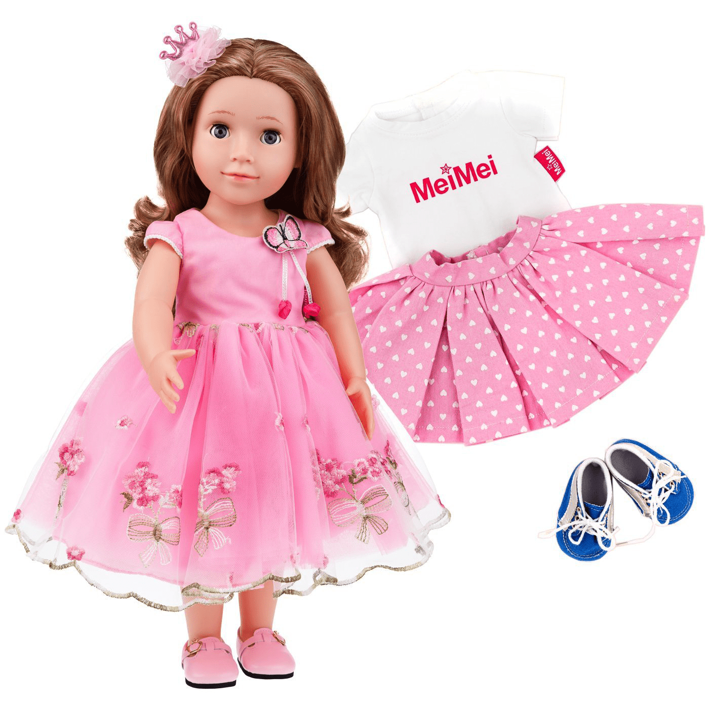 Fashion Vinyl Doll Princess Dolls Pink Flower Butterfly Dress Golden Blonde Hair