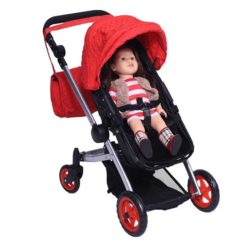 Modern Bassinet Doll Stroller SUPERIOR QUALITY Red Quilted Fabric