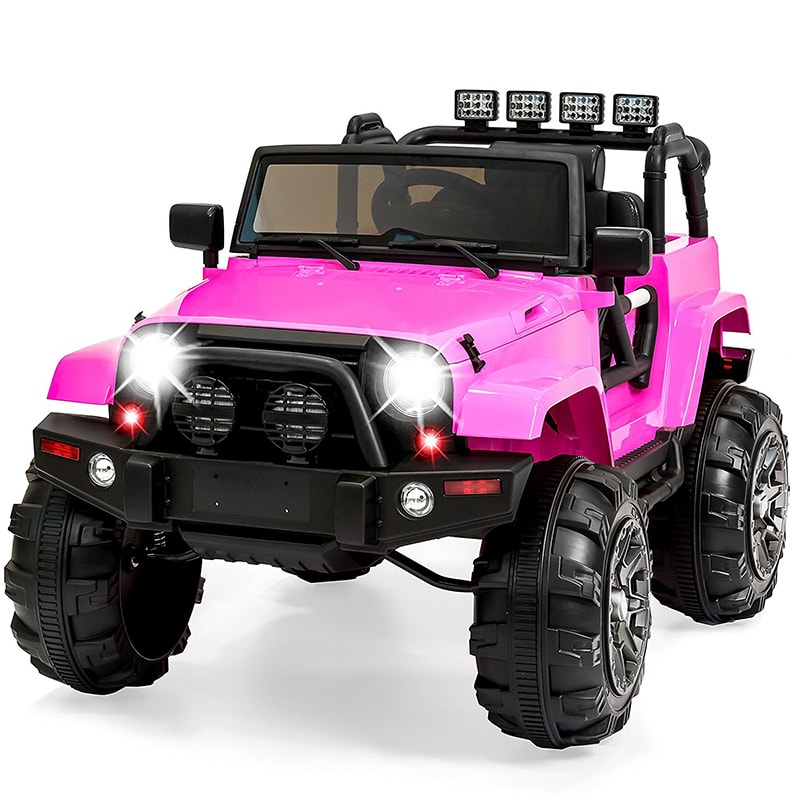 8b0fd4c75c5d5 Ride On Car Truck Remote Control 3 Speeds Spring Suspension LED Light Pink  min